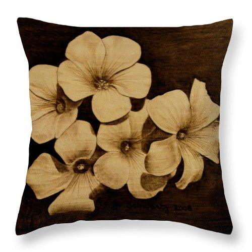Pyrography; Sepia; Flower; Petals; Boquet; Pansy; Violet; Throw Pillow featuring the pyrography Bursting by Jo Schwartz