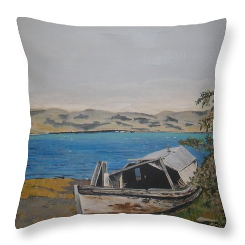 Old Boat Throw Pillow featuring the painting Burwash Landing Yukon by Betty-Anne McDonald