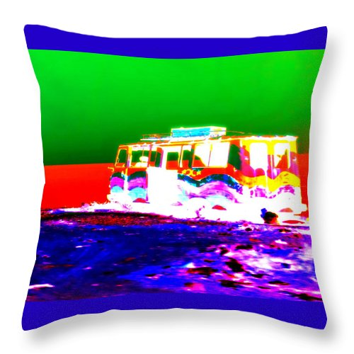 Bus Throw Pillow featuring the photograph Wherever Our Bus Stops We Will Settle Down And Live Happily Ever After For The Rest Of Our Lives by Hilde Widerberg