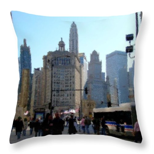 Archtecture Throw Pillow featuring the digital art Bus On Miracle Mile by Anita Burgermeister