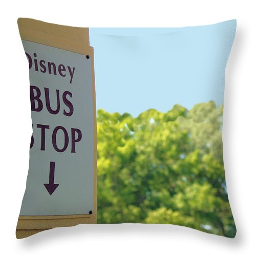 Disney Throw Pillow featuring the photograph Bus Stop by Nora Martinez
