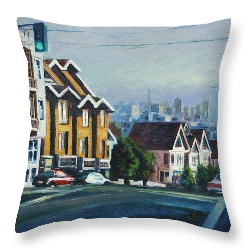Cityscape Throw Pillow featuring the painting Bush Street by Rick Nederlof