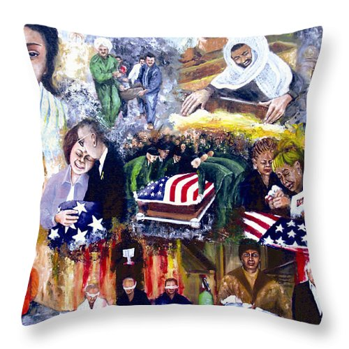 People Throw Pillow featuring the painting Bush's War by Leonardo Ruggieri