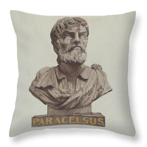 Throw Pillow featuring the drawing Bust Of Paracelsus by Joseph Goldberg