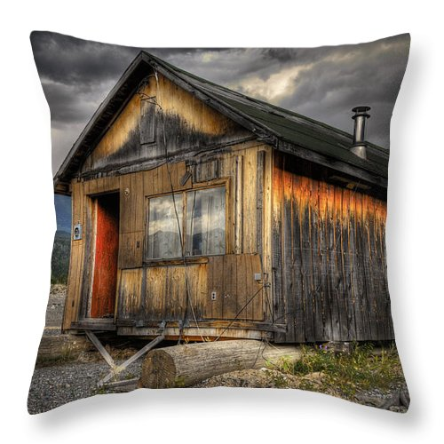 Architecture Throw Pillow featuring the photograph Busted Shack by Wayne Sherriff