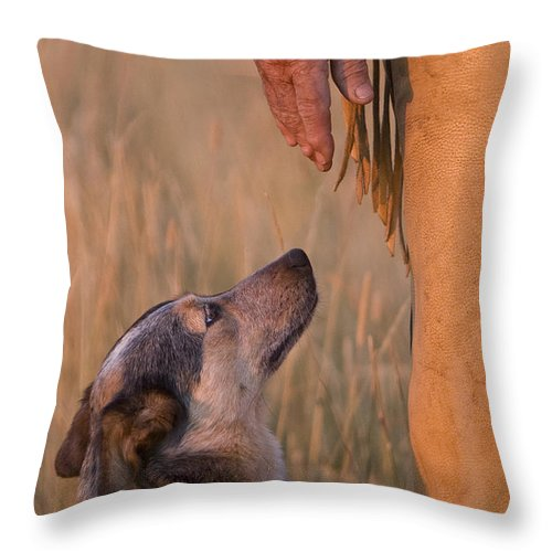 Cowboy Throw Pillow featuring the photograph Buster And Dawg by Carol Walker