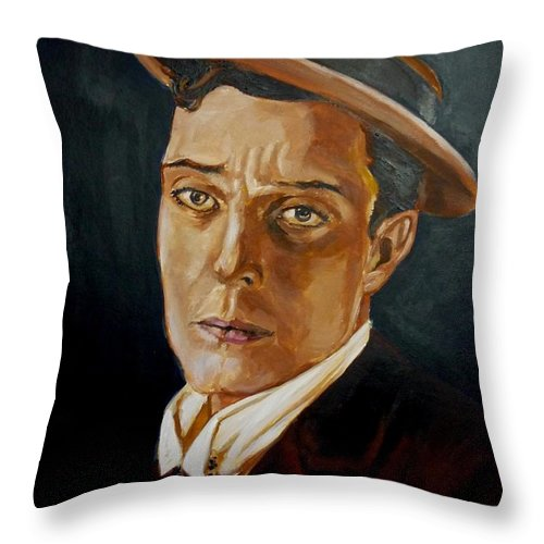 Comedy Throw Pillow featuring the painting Buster Keaton Tribute by Bryan Bustard