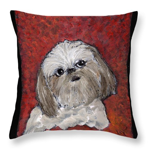 Dog Throw Pillow featuring the painting Buster by Wayne Potrafka