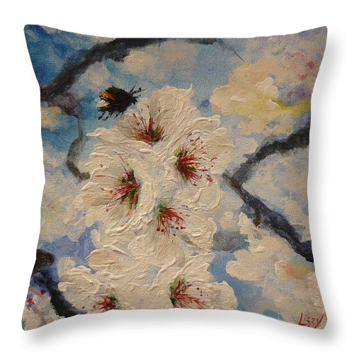 Bumble Bee Throw Pillow featuring the painting Busy Bumble Bee And Blossom. by Lizzy Forrester
