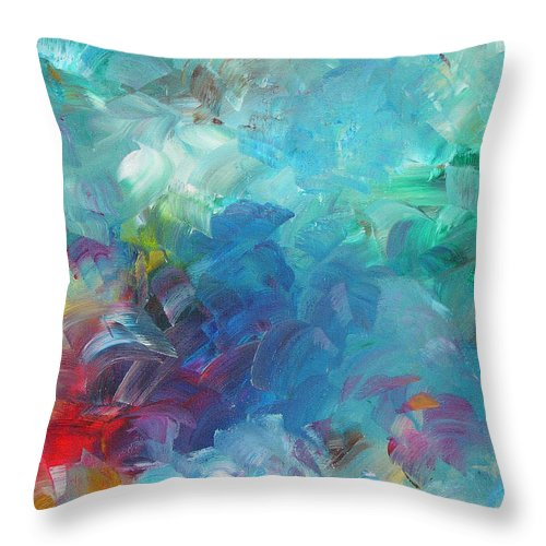 Abstract Throw Pillow featuring the painting Busy Day by Peggy King
