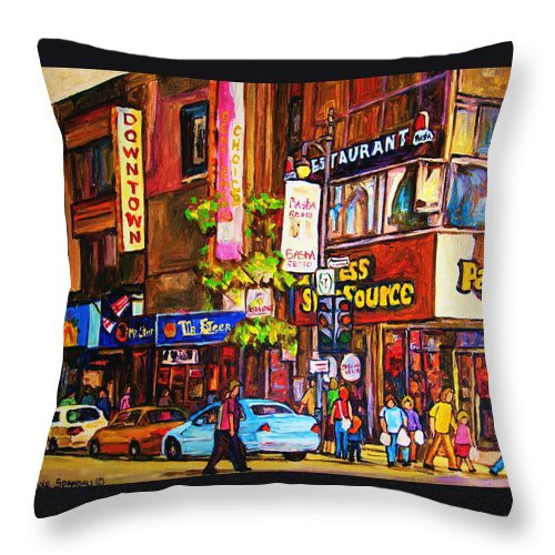 Cityscape Throw Pillow featuring the painting Busy Downtown Street by Carole Spandau