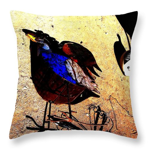Rooster Throw Pillow featuring the photograph But It's A Dry Heat by Michelle Dallocchio