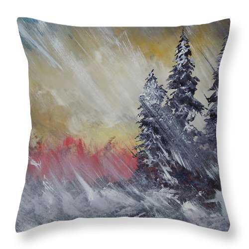 Weather Throw Pillow featuring the painting But The Weather Man Said.... by Dan Whittemore