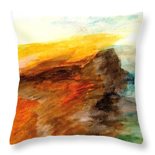 Landscape Throw Pillow featuring the painting Butte At Sunset by Fred Wilson