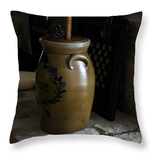 Butter Throw Pillow featuring the photograph Butter Churn On Hearth Still Life by Douglas Barnett