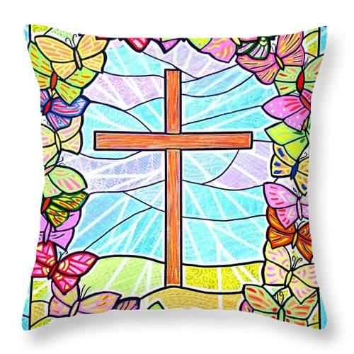Easter Throw Pillow featuring the painting Butterflies and Cross by Jim Harris