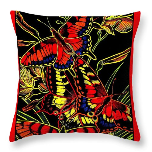 Butterflies Throw Pillow featuring the drawing Butterflies and Day Lilies by Jim Harris