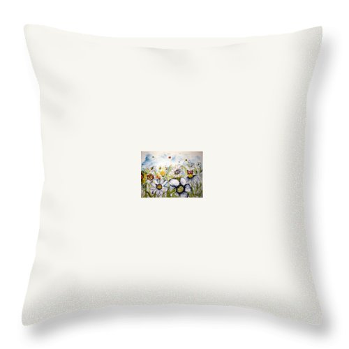 Butterfly Throw Pillow featuring the painting Butterflies and Flowers by Derek Mccrea