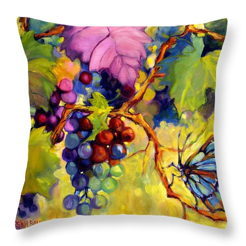 Butterfly Throw Pillow featuring the painting Butterfly And Grapes by Peggy Wilson