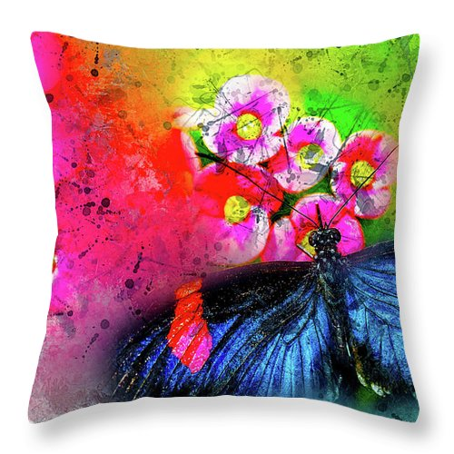 Abstract Throw Pillow featuring the photograph Butterfly Color Explosion by Kay Brewer