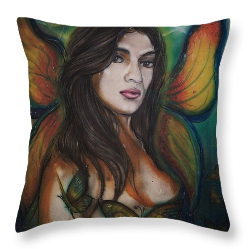 Fairy Throw Pillow featuring the mixed media Butterfly Fairy by Americo Salazar