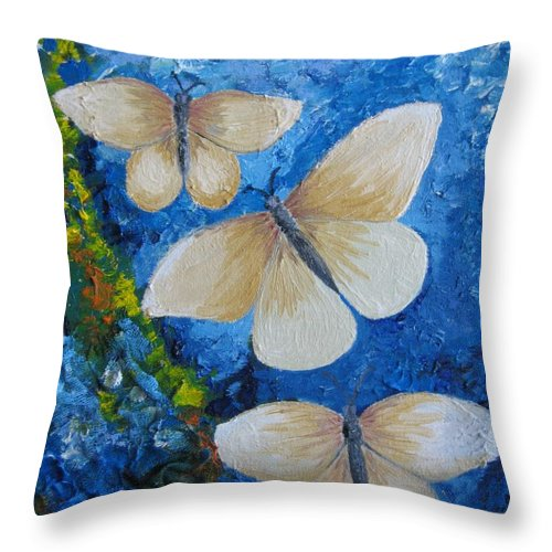 Mixed Throw Pillow featuring the painting Butterfly In Blue 4 by Stella Velka