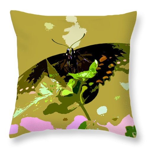 Butterfly Throw Pillow featuring the photograph Butterfly In Color by David Lee Thompson
