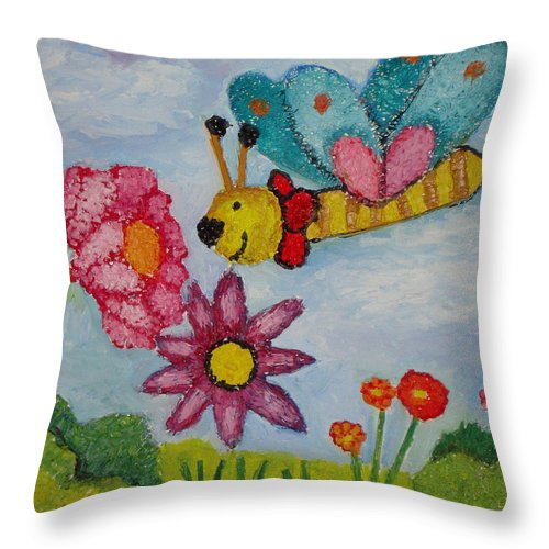 Landscape Throw Pillow featuring the painting Butterfly In The Field by Ioulia Sotiriou