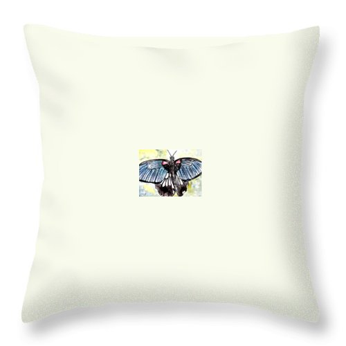 Watercolor Throw Pillow featuring the painting Butterfly Macro by Derek Mccrea