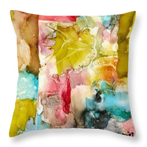 Abstract Throw Pillow featuring the painting Butterfly Morning by Susan Kubes