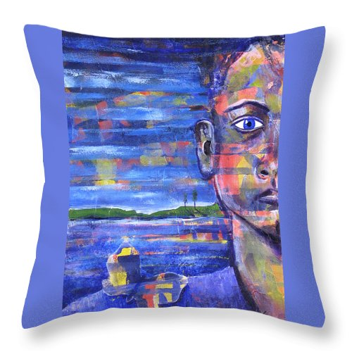 Face Throw Pillow featuring the painting Butterfly On My Shoulder by Rollin Kocsis