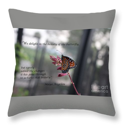 Inspirational Throw Pillow featuring the photograph Butterfly Quote Art Print by Ella Kaye Dickey