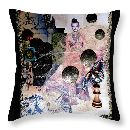 Butterfly Throw Pillow featuring the mixed media Butterfly by Sandy McIntire