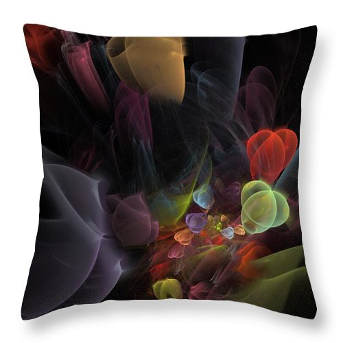 Fantasy Throw Pillow featuring the digital art Butterfly Tea - Fractal Art by NirvanaBlues
