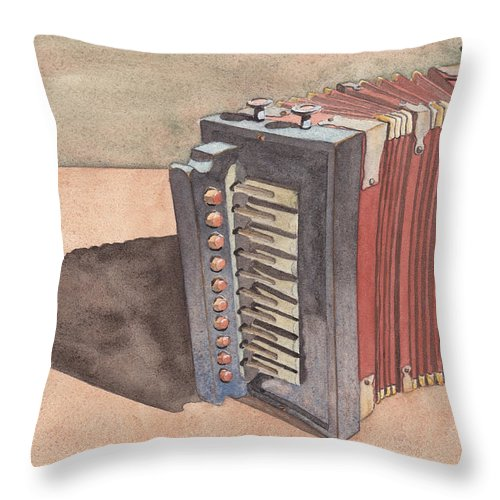 Button Throw Pillow featuring the painting Button Accordion by Ken Powers