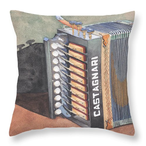 Button Throw Pillow featuring the painting Button Accordion Two by Ken Powers