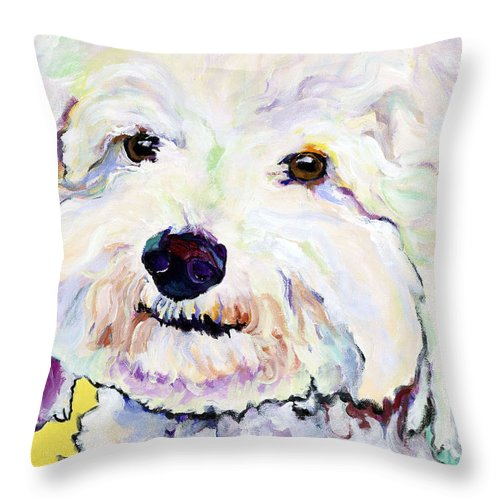 Bischon Throw Pillow featuring the painting Buttons  by Pat Saunders-White