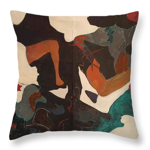 Throw Pillow featuring the painting But..wondered The Cat by Susan Price