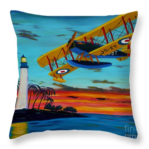 Plane Throw Pillow featuring the painting Buzzing The Light by Anthony Dunphy