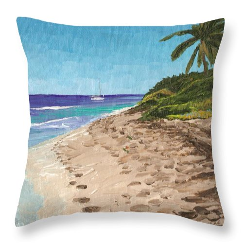 Sailing Throw Pillow featuring the painting Bvi Mooring by Keith Wilkie