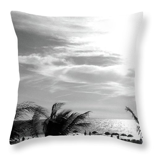 Palm Trees Throw Pillow featuring the photograph Bw Beach by Ceil Diskin