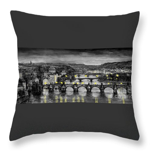 Prague Throw Pillow featuring the painting Bw Prague Bridges by Yuriy Shevchuk