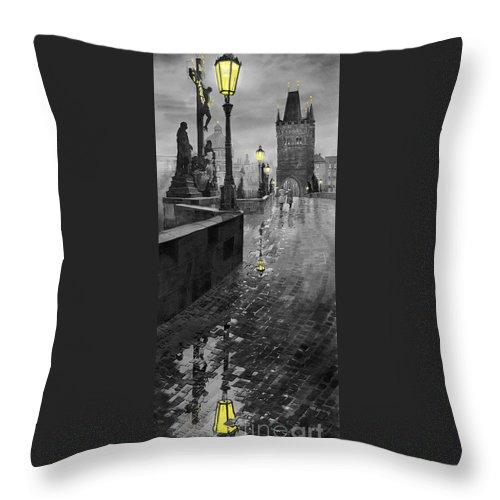 Prague Throw Pillow featuring the painting BW Prague Charles Bridge 01 by Yuriy Shevchuk