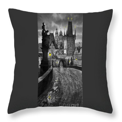 Prague Throw Pillow featuring the painting Bw Prague Charles Bridge 03 by Yuriy Shevchuk