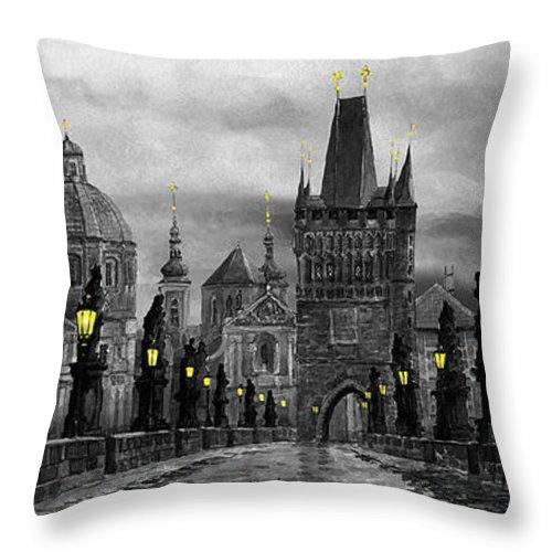 Prague Throw Pillow featuring the painting Bw Prague Charles Bridge 04 by Yuriy Shevchuk