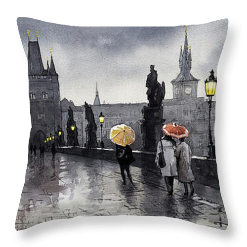 Prague Throw Pillow featuring the painting BW Prague Charles Bridge 05 by Yuriy Shevchuk