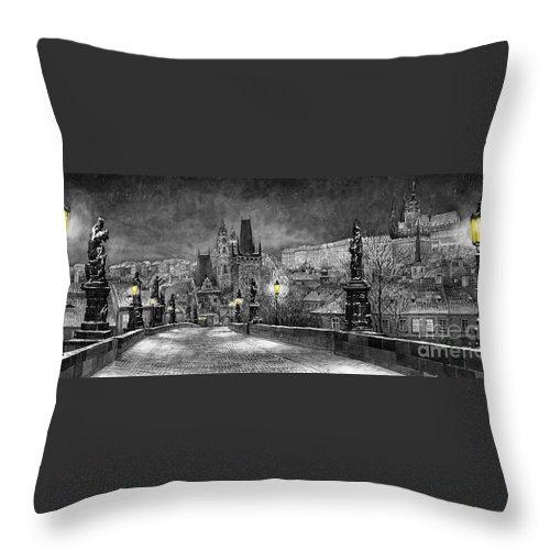 Prague Throw Pillow featuring the painting Bw Prague Charles Bridge 06 by Yuriy Shevchuk