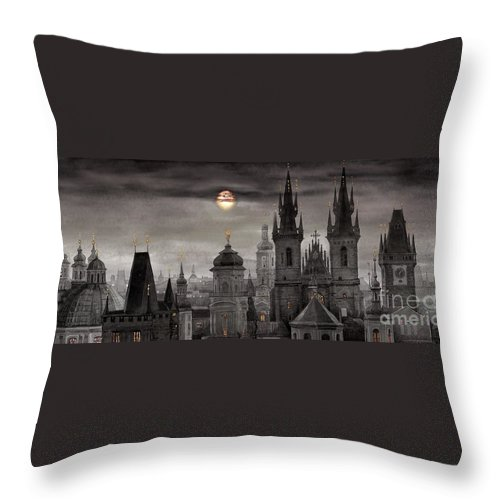 Cityscape Throw Pillow featuring the painting BW Prague City of hundres spiers by Yuriy Shevchuk
