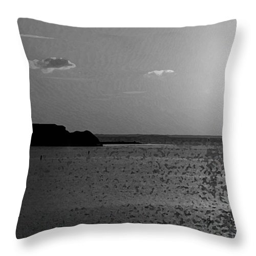 Pelican Throw Pillow featuring the photograph Bw Sunset House by Michael Thomas