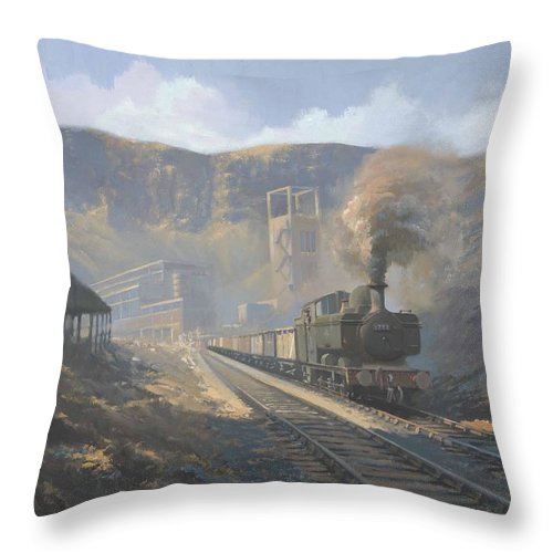 Railway Throw Pillow featuring the painting Bwllfa Dare Colliery by Richard Picton